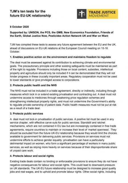 TJM's ten tests for the future EU-UK relationship