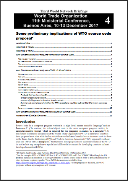 Some preliminary implications of WTO source code proposal - Third World Network