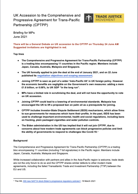 UK Accession to the Comprehensive and Progressive Agreement for Trans-Pacific Partnership (CPTPP)