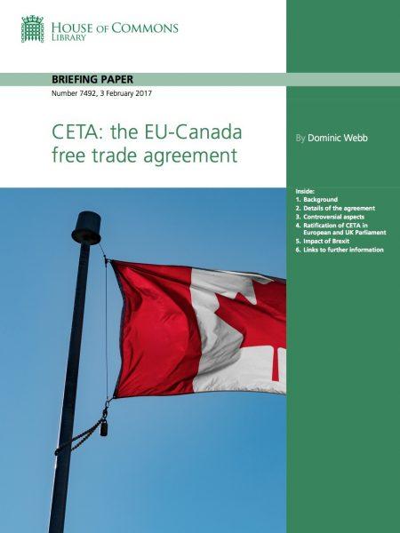 UK Parliament Note on CETA