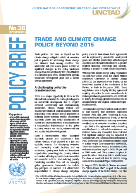 Trade and climate change policy beyond 2015