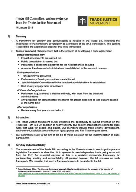 Submission to the House of Commons Public Bill Committee on the Trade Bill